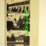 Dargosław, zajazd, kościół oraz szkoła w Darżewie; karta pocztowa lata 30. XX wieku