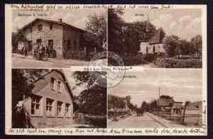 Brojce: sklep, kościół, szkoła, ulica obecnie Długa (wjazd od strony Gryfic); karta pocztowa lata 20/30. XX wieku.