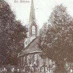 Bielikowo, kościół, widok od południowego wschodu, fragment karty pocztowej, lata 20. XX wieku