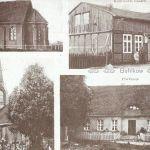 Bielikowo, kościół staroluterański, sklep Raascha, kościół ewangelicki, plebania, karta pocztowa wersja czarno-biała