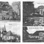 Brojce, gospoda i sklep kolonialny, młyn wodny, kościół, plebania; karta pocztowa lata 30/40. XX wieku.