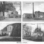 Brojce, gospoda i sklep kolonialny, gorzelnia, plebania, kościół; karta pocztowa1931 rok.