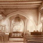 Kiełpino, kościół, widok z nawy na prezbiterium, lata 30/40. XX wieku, fot. Gebr. Rogorsch, Danzing