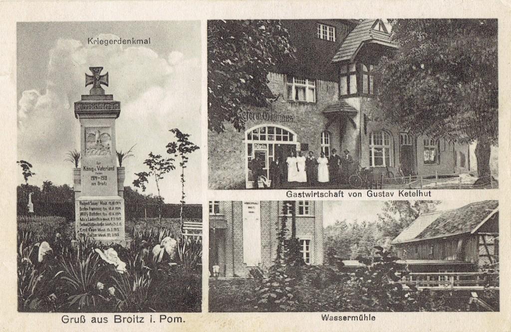 Brojce: pomnik wojenny; sklep kolonialny; młyn; pocztówka - lata 20/30 XX wieku