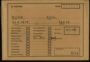 Jeden z zachowanych dokumentów dotyczących Ericha Buscha z Trzebiatowa (z zasobu Międzynarodowego Centrum Poszukiwań w Bad Arolsen)